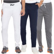 Cliths White Dark Grey And Navy Blue Slim Fit Solid Cotton Track Joggers for Men (Pack Of 3)