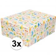 Shoppartners 3x Cadeaupapier wit met Happy Birthday 200 cm per rol