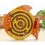 Mini Wooden Round Magnetic Maze Puzzle Interactive maze Magnet Beads Maze on Board Game Eduactional Handcraft Toys Round Fish