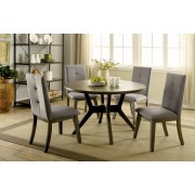 5 pc abelone collection mid century modern style gray finish wood round dining table set