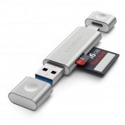 Satechi USB / USB-C čtečka microSD a SD karet - Satechi, Aluminum Card Reader Silver