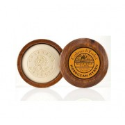 Moroccan Myrrh Shave soap in wooden bowl