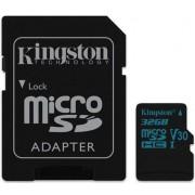 Card de memorie Kingston Canvas Go, microSDHC, 32 GB, 45 MB/s Citire, 10 MB/s Scriere, Clasa 10 UHS-I + Adaptor SD