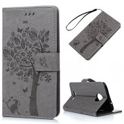 KASOS Moto Z Case Wallet, Embossed Lovely Tree Butterfly Cat Magnetic Front Closure Durable PU Leather Wallet Soft TPU Inner Shell Kickstand Card Holders Cash Slots & Hand Strap Cover - Gray