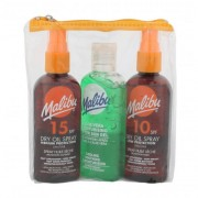 Malibu Dry Oil Spray SPF15 darčeková kazeta vodeodolná pre ženy suchý olej na opaľovanie SPF15 100 ml + suchý olej na opaľovanie SPF10 100 ml + gél po opaľovaní Aloe Vera 100 ml