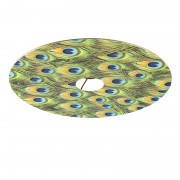 QAZQA Velor flat lampshade peacock design with gold 45 cm