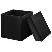 [en.casa]® 2-v-1 Box na sedenie s odkladacím priestorom - 30 x 30 x 30 cm - čierny - M
