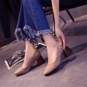 Zapatos De Tacón Grueso Del Alto Talón De Las Mujeres De La Manera-khaki