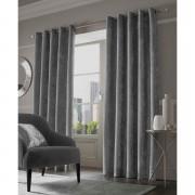 Sienna Eyelet Crushed Velvet Curtains - Silver - 90 x 54cm