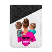 Pouzdro na kreditní karty iSaprio - Super Mama - Boy and Girl - tmavá nalepovací kapsa