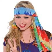 Groovin '60s Costume Party Hippie Tide Dye Headscarf, Multi Color, Fabric, 1-Piece