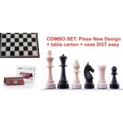 Combo set: Piese plastic sah Staunton New Design tabla carton sah ceas sah DGT easy Crimson Cruz
