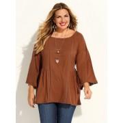 Venca Camiseta manga 3/4 mujer tallas grandes marrón 3XL
