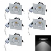JIAWEN 6W COB LED Dimmable blanco frio lamparas de techo (5pcs)