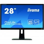 iiyama 28' 3840x2160, 4K UHD, FreeSync, Height Adjust. (13cm), 300cdm², Speakers, , VGA, DVI, DisplayPort, HDMI, 1ms, USB HUB (3.0+Charge), Black Tuner