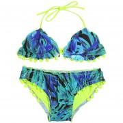 Conjunto de bikini de mujer con cuello halter sin espalda y estampado floral acolchado de cintura baja sexy