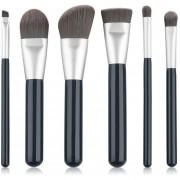 ER 6 Pcs Brochas De Maquillaje Polvo Cosmético De La Cara De La Fundación Conjunto De Herramientas -Negro