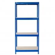 Bezskrutkový kovový regál s HDF policou 180x90x30cm, 4 políc, 400kg na policu, modrá farba