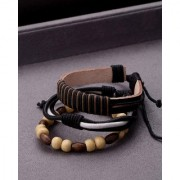 Dare by Voylla Cool Stacked Black White Leather and Beads Bracelet Set of 3