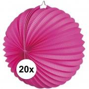 Geen 20x Lampionnen fuchsia roze 22 cm