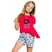 Hannácska lányka pamut pizsama kiscicával, málnaszínű 116