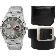 Crude Combo of Grey Dial Watch-rg718 With Black Leather Belt Wallet for Men's Boy's