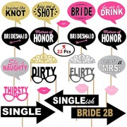 Party Propz Bride to Be Photo Booth Props 22Pcs Set for Bride to Be or Bachelorette Parties