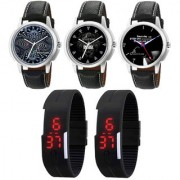 Combo of 3 Stylish Elegant Analogue Wrist Watches And 2 Black Digital Led Watches