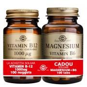 Solgar Pachet Vitamin B-12 1000 ug nuggets 100s + Magnesium cu B6 100 tablete GRATIS