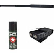 Set autoaparare baston telescopic electrosoc cu lanterna si spray cu piper NATO