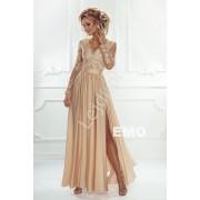 Suknia na wesele z długim rękawem - złota suknia wieczorowa Luna