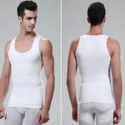 EW Los Nuevos Hombres Del Vientre Body Control Panza De La Cintura Delgada De La Talladora Del Chaleco Negro Blanco Color Blanco