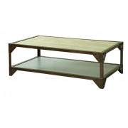 Premium Oak Top Industrial Coffee Table with metal frame & aluminium shelf