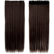 Stylazo Straight Full Head Synthetic Fibre Clip In Hair Extensions 5 Clips Based 24 Inch - For Women And Girls - Feel Like Real Hairs - Premium Quality (Dark Brown)
