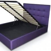 Pat tapitat Terano material textil somiera rabatabila inclusa culoare mov 160x200cm