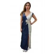 Rochie eleganta Stephanie cu crepe pe picior,nuanta de bleumarin (Marime: 48, Culoare: BLEUMARIN)