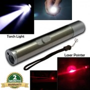 2in1 Rechargeable Waterproof LED Flashlight Torch Red Laser Pointer Pen Pocket Torch Light 5W 500MW With USB Charger
