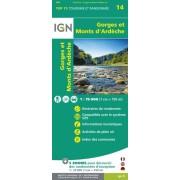 Fietskaart - Wandelkaart 14 Gorges et Monts d'Ardèche | IGN