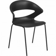 Flash Furniture Plastic Cafe-Style Stacking Chair - Black, 440-Lb. Capacity, 23Inch W x 18Inch D x 31Inch H, Model RUT4BK