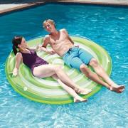 "Summer Waves 65"" x 7"" Inflatable Splash Island Swirl Ring Pool Tube Float, Green"