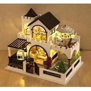 Ploy Dream Castle MIini DIY house Kit Dollhouse Miniature Handmade Home Decorate with LED Light + Glass Dust-proof Cover +for Children Creative Assembling Toys Birthday Gift K011