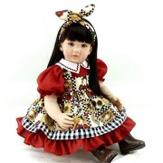 """Oumeinuo 22"""" Handmade Vinyl Silicone Reborn Baby Dolls Lifelike black wig Toddler Girl newborn Doll+clothes+shoes"""