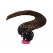 Asijské vlasy na metodu keratin odstín 2 po 20 ks Délka: 46 cm, Hmotnost: 0,5 g/pramínek, REMY kvalita