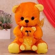 15 Inch Orange Mumma Baby Teddy Bear Plush Soft Toy