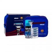 Gillette Mach3 Turbo FC Barcelona set cadou Aparat de ras 1 buc + Rezerve 4 pcs + Gel de barbierit Extra Comfort 75 ml + Borseta cosmetice M
