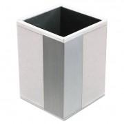 Architect Line Pencil Cup, 3 X 3 X 4, White/silver