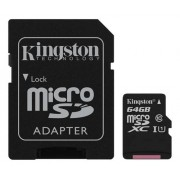 Kingston minneskort microSDXC 64GB m. adapter