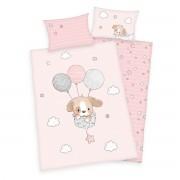 Lenjerie de pat copii, din bumbac, Sweet puppy, 100 x 135 cm, 40 x 60 cm