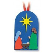 Religious Kids Gift Holy Family In Manger Stable Nativity Hanging Christmas Foam Ornament