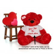 Personalized Red Teddy Bear Soft Toy wearing Customized Photo and Message Tshirt
